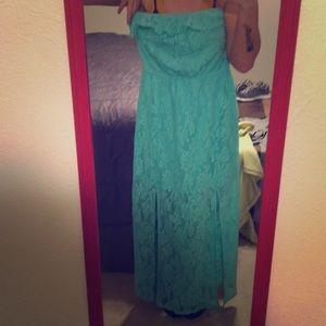 Blue/ sea green long lace dress.